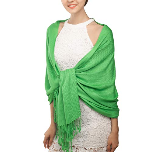 Women's Pashmina Blanket Scarf Shawl Wrap Cashmere Feel Scarves Bridal Christmas Gift (One Size, Z-Grass Green)