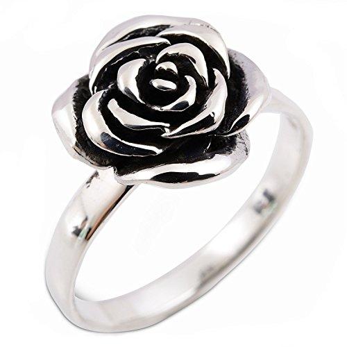 (Lovely Thai Design Flower Rose Ring 925 Sterling Silver 5.5)