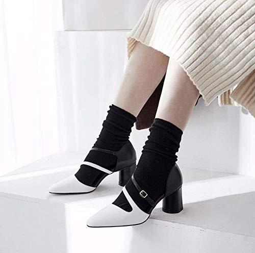 Zapatos Mujer 38eu Sencillos Hebilla Hueco Sandalias Glter Cómodos Nuevo white De Cuero Alto Talón fA1qF