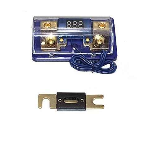 Asdomo Car Stereo Audio Led Display Digital Voltage Blue Base Inline ANL Fuse Holder 0 2 4 Gauge 100 Amp (Car Audio Digital Fuse)