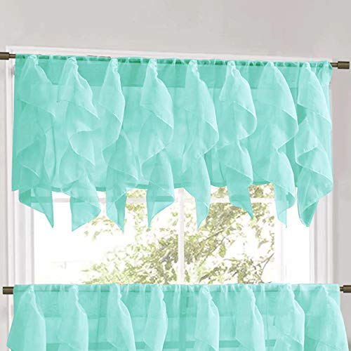 (Sweet Home Collection Veritcal Kitchen Curtain Sheer Cascading Ruffle Waterfall Window Treatment - Choice of Valance, 24