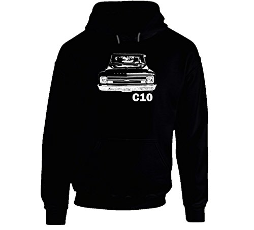 CarGeekTees.com 1968 C10 Pickup Truck Grill View with Model Name Black Hooded Sweatshirt Hoodie 2XL Black