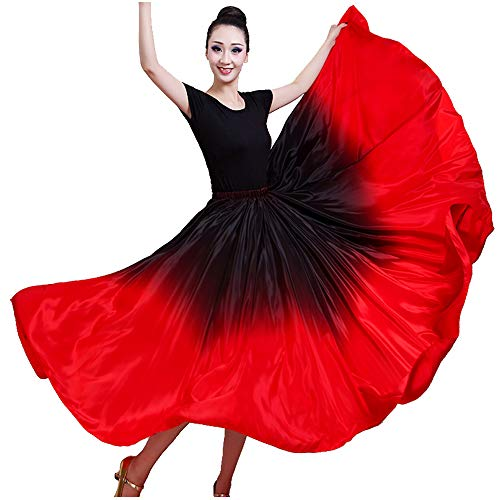 Performance Silky Feeling Black Red Gradient Spain Bull Belly Dance Circle Skirt Prom Evening Party Dress (Black top)