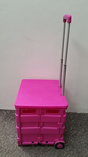 NEW PINK LARGE FOLDING TEACHER SCHOOL COLLEGE BOOKS CAMPING BOOT TRUNK CART CRATE TROLLEY 40KG FOLDABLE + LID LEISURE DIRECT®