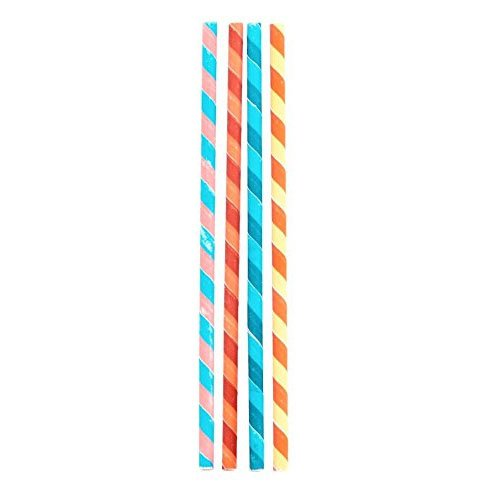 Kikkerland Biodegradable Party Stripes Paper Straws, Multico