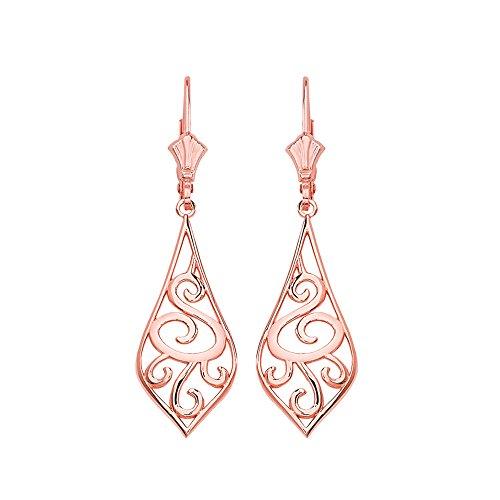 Solid 14k Rose Gold Filigree Rattan & Leaf Design Dangle Earrings (1.42