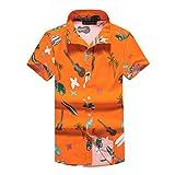 NUWFOR Men Women Fashion New Beach Style Printing Cotton Short Sleeve T-Shirt Tops(Orange,L US Chest:42.5''