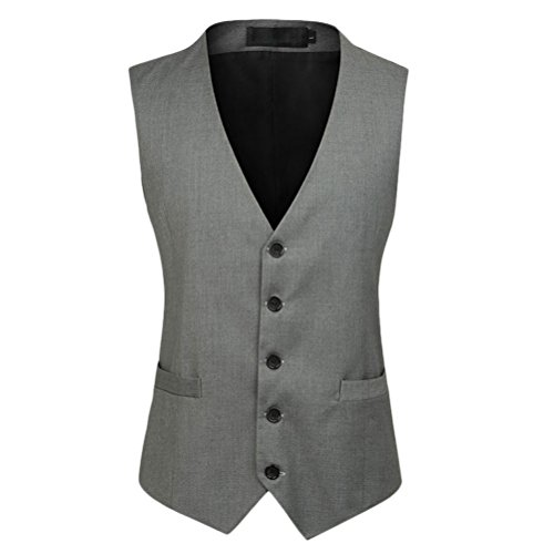 Button V Mens Vest Business Down Breasted respirable Single Jacket gris Zhuhaitf Suit Quality High neck Sq4gWxwHF