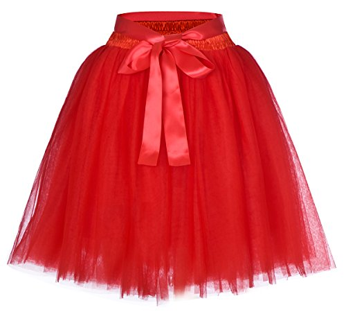 Women's High Waist Princess Tulle Skirt Adult Dance Petticoat A-line Wedding Party Tutu(Red),One Size