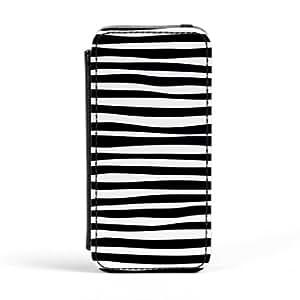Modern and Minimalistic Irregular Black and White Stripes Carcasa Protectora Premiun PU en Cuero, con Tapa para Apple® iPhone 5 / 5s de UltraCases + Se incluye un protector de pantalla transparente GRATIS