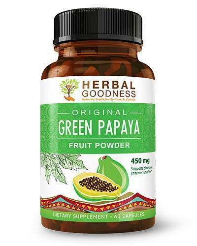Green Papaya Powder Capsules - Natural Blood Platelet Level Boost - Bone Marrow Support - Blood Cleanse and Detox - Immune Health - 60/450mg Veggie Capsules - Made in USA by Herbal Goodness (Papaya Fruit Extract)