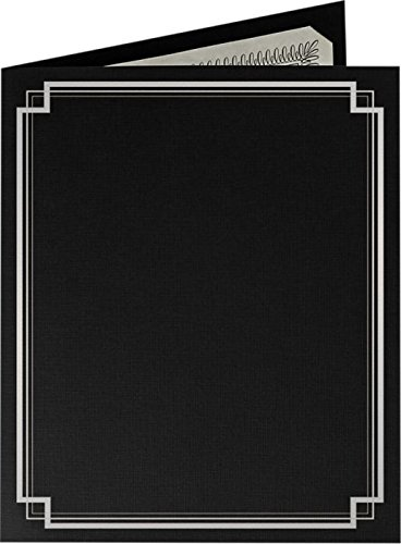 9 1/2 x 12 Certificate Holders - Deep Black Linen - Silver Foil Square Border (25 Qty.) | Perfect for Award Recognition, Certificates, Documents and More! | CHEL-185-DDBLK100-SQSF-25