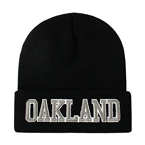 Classic Cuff Beanie Hat - Black Cuffed Football Winter Skully Hat Knit Toque Cap (Oakland)