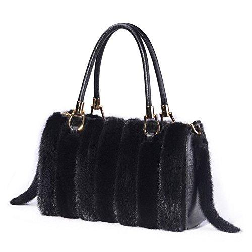 Loodial Women Handbags Real Mink Fur Leather Shoulder Bags Crossbody Hobos (Black) - Black Leather Mink