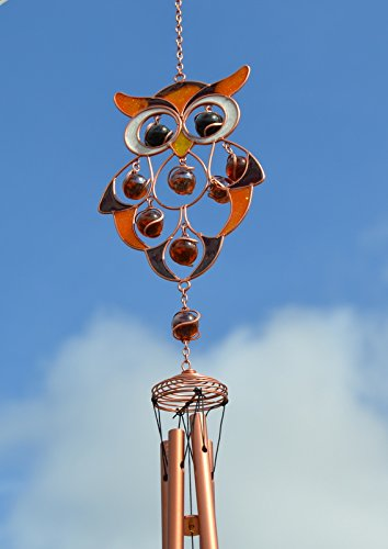 Hunky Dory Gifts Owl Stained Glass Hanging Suncatcher Mobile Windchime Garden Home