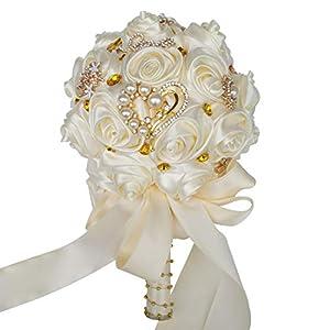 HORHIN Handmade Wedding Bouquet Crystal Pearl Silk Roses Rhinestone Bridal Bridesmaid Wedding Hand Bouquet Artificial FlowersIvory 1