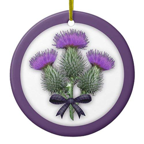 (Ditooms Purple Scottish Thistles with Tartan Plaid Bow Ceramic Ornament Circle 3 Inches)