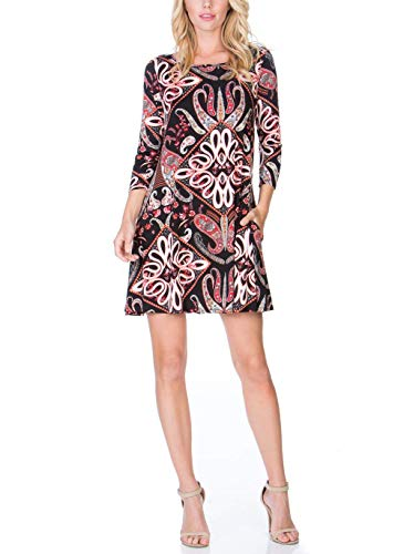 Silvous-Womens-34-Sleeve-Floral-Print-Tunic-Dress-Casual-Loose-T-Shirt-Dress-with-Pockets