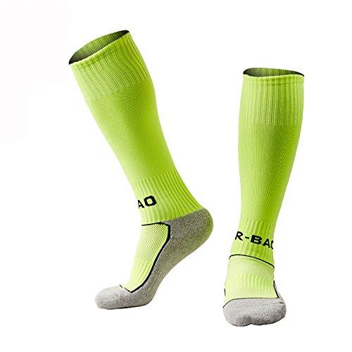 WAWEN Kid's Knee High Soccer sock youth Soccer Sports Team Tube Socks Long Stockings Towel Bottom Sox Football Socks of boys( 1-9.5UK/Kid) 1/4/5 Pair