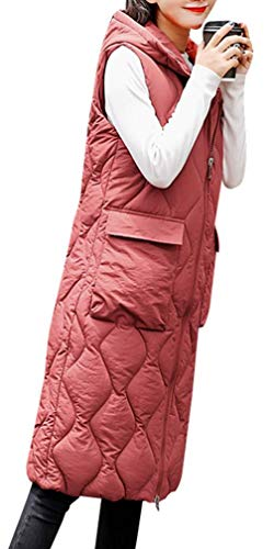 Yasong Women Long Hooded Padded Puffer Quilted Vest Gilet Bodywarmer Sleeveless Jacket Wine