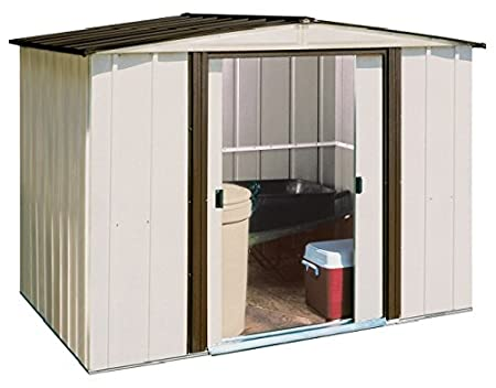Review Arrow Newburgh Low Gable Steel Storage Shed, Coffee/Eggshell, 8 x 6 ft.