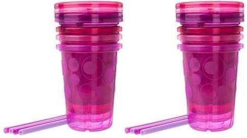 The First Years Take & Toss Spill-Proof Straw Cups - Pink Colors - 2 Sets