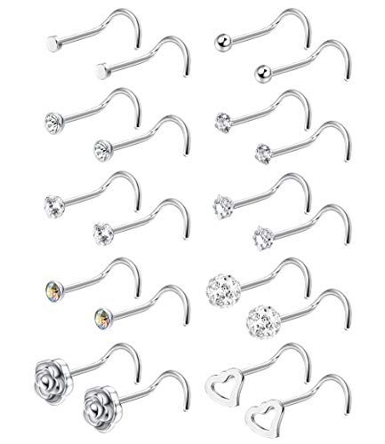 FIBO STEEL 20G 12 Pcs Stainless Steel Nose Screw Stud Nose Rings for Men Women Body Piercing Jewelry CZ Inlaid Siliver-Tone