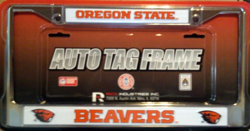 Oregon State NEW LOGO Metal Chrome License Plate Tag Frame Cover University (Oregon State Logo Plate)