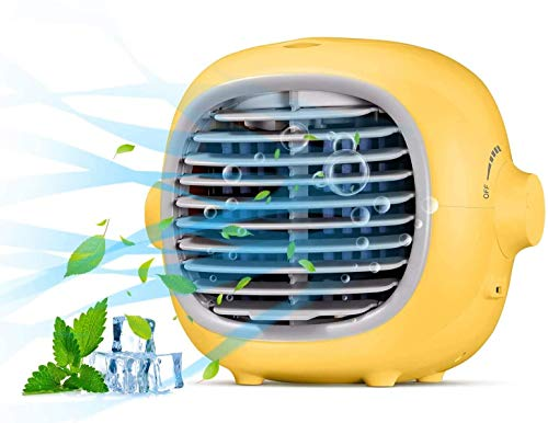 Portable Air Conditioner Fan Evaporative Portable Cooler Fan Space Cooler Fan Quiet Desk Fan with USB Recharged(Yellow)