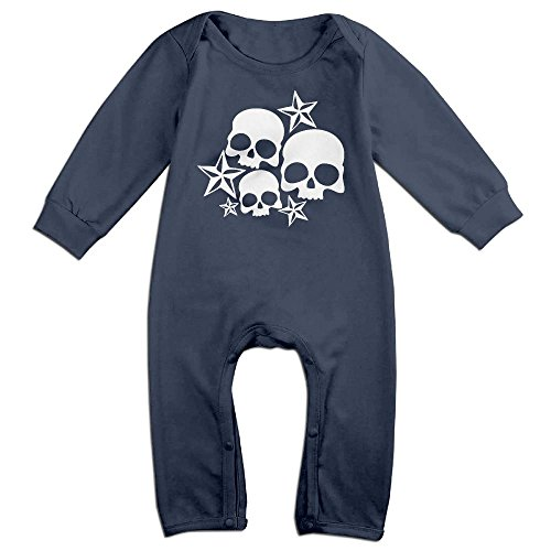 Baby Star Lord Costume (Baby Infant Romper Stars & Skulls Long Sleeve Bodysuit Outfits Clothes Navy 6 M)