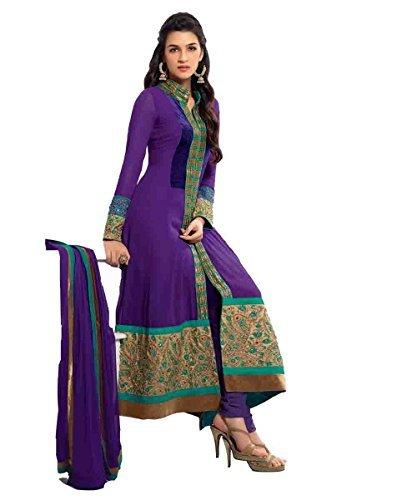 Clickedia Women's Faux Gorgette Semi Stitched Anarkali Suit One Size Purple- Dress Material