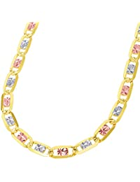 Solid 14k Tri Color Gold 5.5mm Flat Valentino Chain Necklace with Lobster Clasp