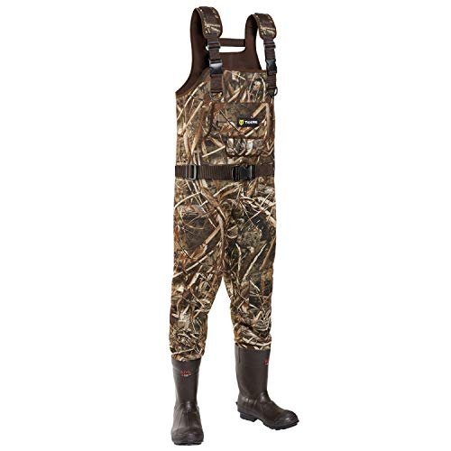 TideWe Chest Wader, Camo Hunting Wader for Men, Waterproof Cleated Neoprene Bootfoot Wader, Insulated Hunting & Fishing Wader Realtree MAX5 Camo (Insulation 600G Size 9)
