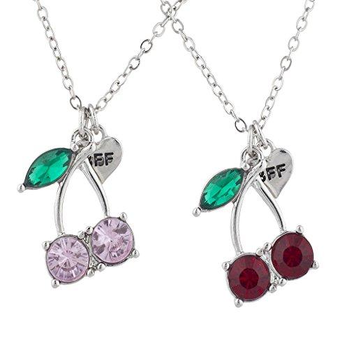 Lux Accessories Silver Tone Cherry BFF Best Friends Charm Pendant Necklace 2PC