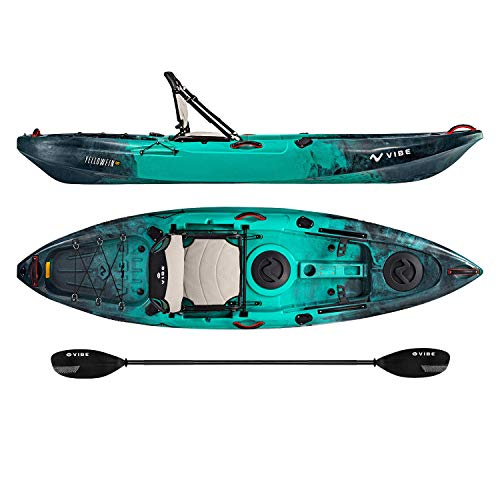 Vibe Kayaks Yellowfin 100 10 Foot Angler Recreational Sit On Top Light Weight Fishing Kayak (Caribbean Blue) with Paddle and Adjustable Hero Comfort Seat - Journey ()