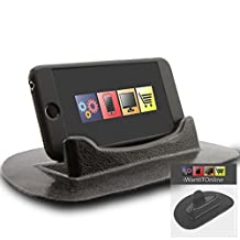 IWIO Alcatel One Touch Idol Black Sticky (NO GLUE) Mat Anti-Slip In Car Dashboard Desk Table Vertical / Horizontal Holder