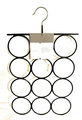 12 Loop Silicon Dipped Scarf Rack ~Tie Accessory Hanger, Black