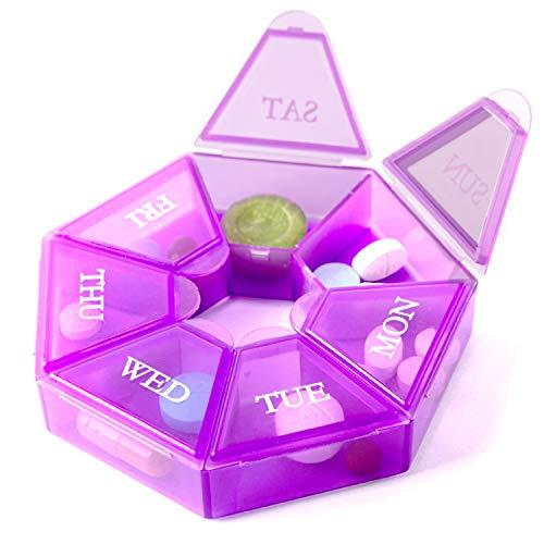Deke Home 7-Sided Portable Pill Box Medicine