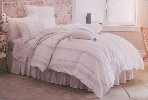 (Simply Shabby Chic Bohemian Embroidered Blue and White Twin Duvet Cover Set)