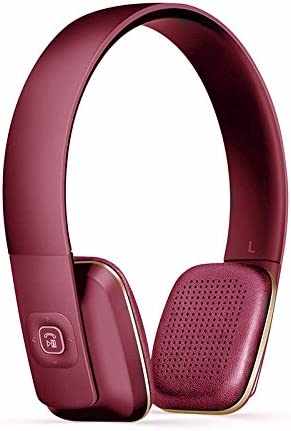 Ombuds Jackrabbit - Wireless Bluetooth Headphones - On-Ear Style - Mic for Phone Calls - Optional 3.5mm Jack (Burgundy Berry)