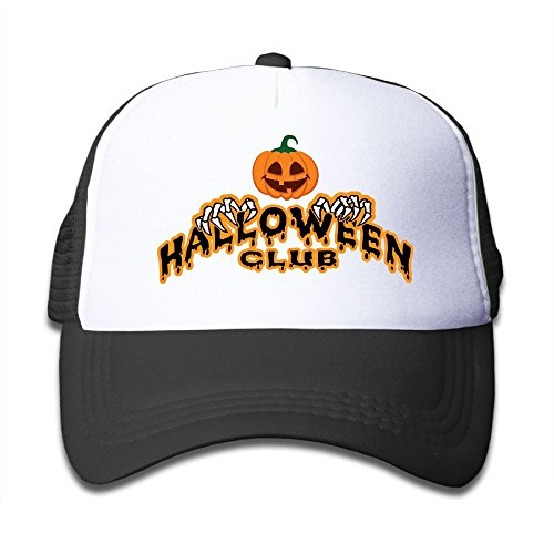 Halloween Club Mesh Hat Trucker Style Outdoor Sports Baseball Cap With Adjustable Snapback Strap For Kid's Black One Size (National Arts Club Halloween)