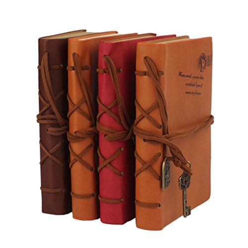 Robiear Retro Classic Leather Bound Blank Pages Notebook 160 Page