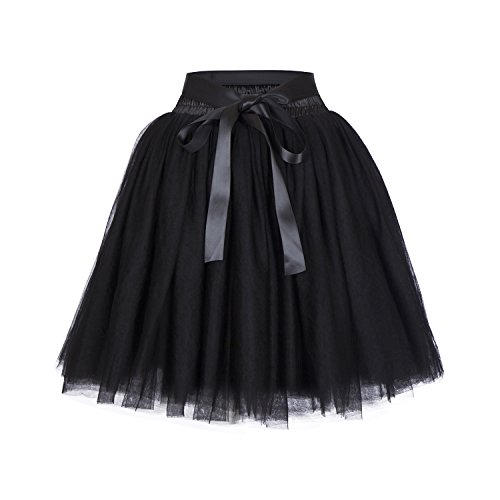 High Waist Dance Petticoat Adult A-Line Tutus for Women Tulle Skirt for Bridesmaid/Wedding Flower Girl Gown Prom Party (Black)]()