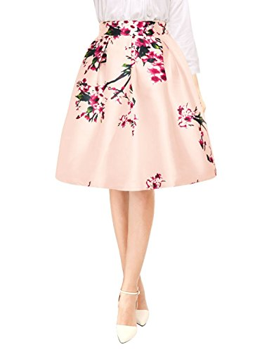 Allegra K Woman Floral Prints High Waist Pleated A Line Midi Skirt Pink XL
