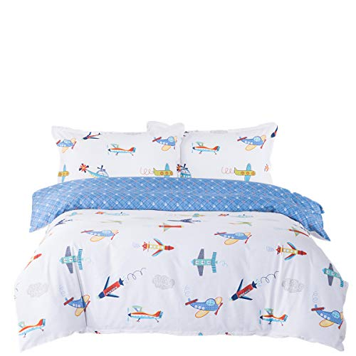 Senmiya Airplane Bedding Set 100 Percent Cotton Duvet Cover Twin XL + 2 Pillow Shams, Bunk Bed Boys Comforter Set Lightweight Down Comforter Cover