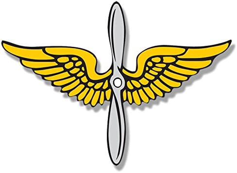 Logo Service Insignia American Vinyl Gold and Silver Army Aviation Prop and Wings Shaped Sticker