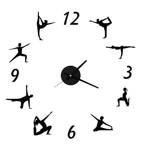 (Indoor Yoga DIY Wall Clock - Quartz Silent Wall Clock - Creative Clocks - Yoga Studio - Gym - Energy Health Clubs - Gifts 0)