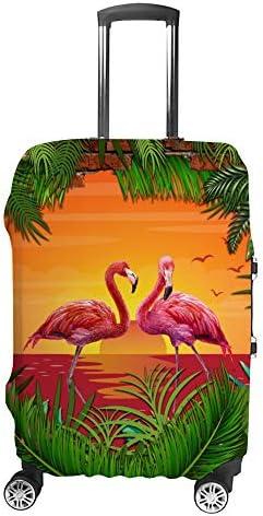 スーツケースカバー トラベルケース 荷物カバー 弾性素材 傷を防ぐ ほこりや汚れを防ぐ 個性 出張 男性と女性日没のフラミンゴのペア