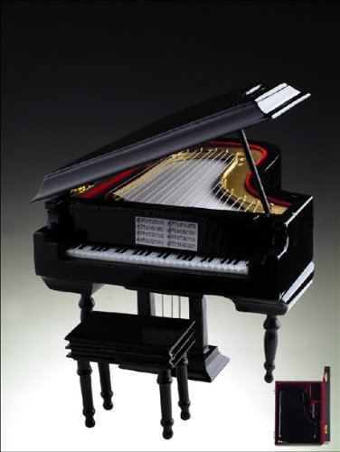 Black Wooden Grand Piano Music Box 18 Note Mechanical Musical Movement that Plays the Tune