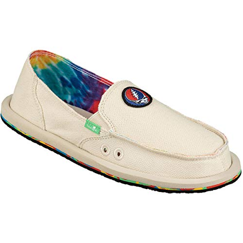 Sanuk Women's Donna Hemp Loafer Flat, Tie Dye/Grateful Dead, 9 M US